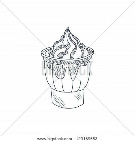 Sundae Hand Drawn Cool Monochrome Vector Contour Sketch