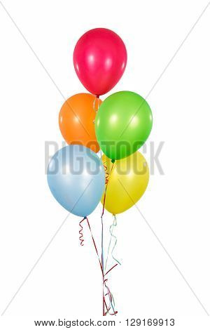 Colorful Helium Balloons in isolated White Background