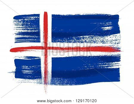 Iceland colorful brush strokes painted national country Icelandic flag icon. Painted texture.