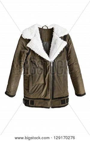 Casual khaki jacket with white fur collar isolated over white
