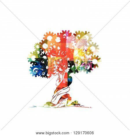 Vector illustration of colorful tree with gears