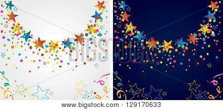 background with many colorful stars and confetti around a circular area