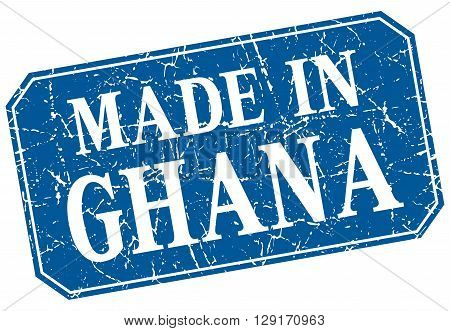 made in Ghana blue square grunge stamp
