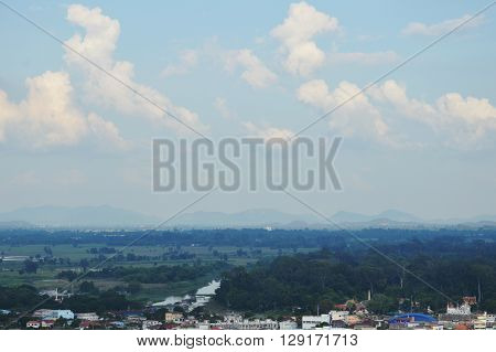view of Thailand countryside landscape in sunny day