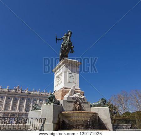 Monument Of Felipe Iv In Msdrid