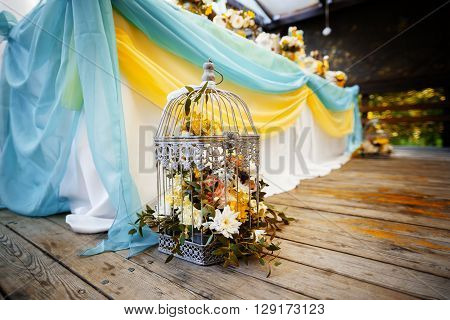 elements for wedding decor. wedding banquet cage