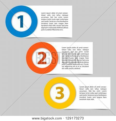 Vector template of three color steps timeline