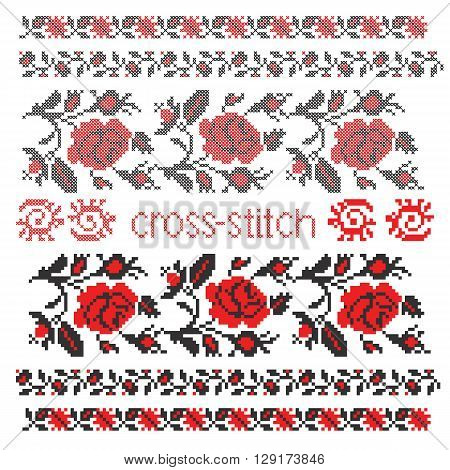 Vector imitation of Ukrainian ethnic cross-stitch embroidery