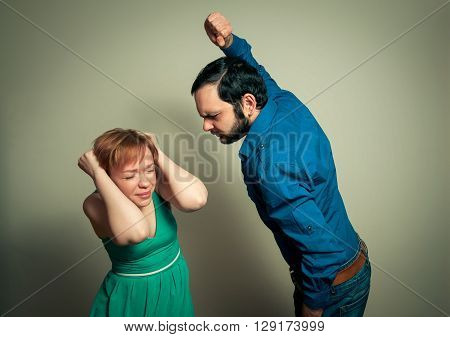 man beating woman. the home violence concept