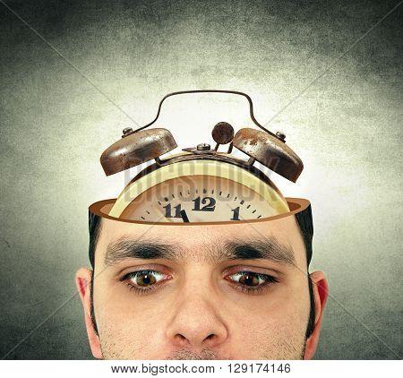 man with the open head alarm clock