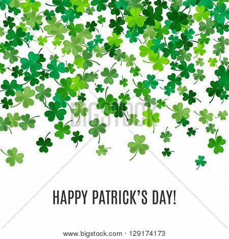 St Patricks Day background. illustration for lucky spring design with shamrock. Green clover border and frame isolated on white background. Ireland symbol pattern. Irish header for web site.