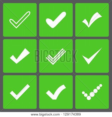Set of different retro check marks or ticks. Confirmation acceptance positive passed voting agreement true or completion of tasks on a list. White and green colors.