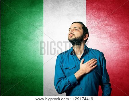 patriot man of Italy standing closeup portrait