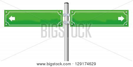 Street name signs - green, blank, with two arrows showing in opposite directions. Isolated vector illustration on white background.