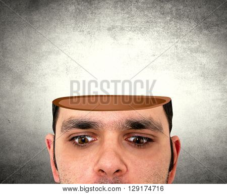 abstract shot of man with the open head