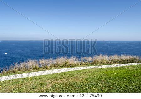Northern Spain coastline landscape in Gijon, Asturias
