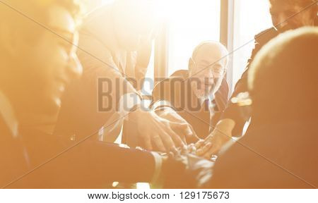 Business Team Support Join Hands Concept