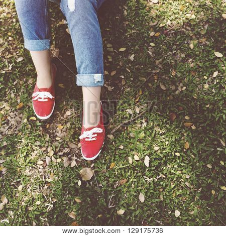 Skater Sneakers Jeans Lying Relaxation Freestyle Concept