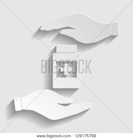 Medical container sign. Flat style icon vector illustration.