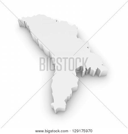White 3D Illustration Map Outline Of Moldova Isolated On White