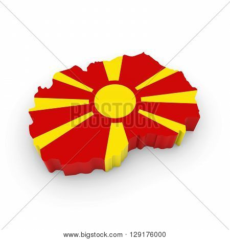 3D Illustration Map Outline Of Macedonia With The Macedonian Flag