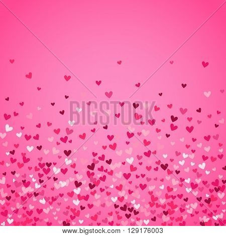 Romantic pink heart background. illustration for holiday design. Many flying hearts on pink background. For wedding card, valentine day greetings, lovely frame.