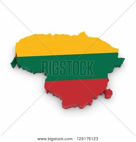 3D Illustration Map Outline Of Lithuania With The Lithuanian Flag