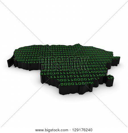 Lithuanian Technology Industry Concept Image - 3D Illustration Map Outline Of Lithuania With Green B