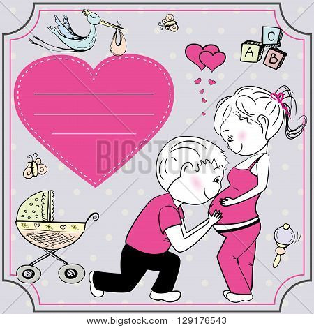 A pregnant woman and her husband greeting card or banner vector illustration