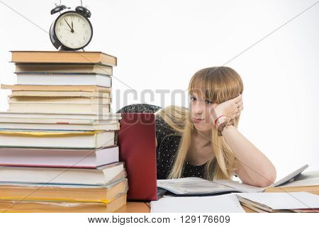 Sad Girl Student Sitting At A Desk With A Large Stack Of Books And Looking At The Laptop