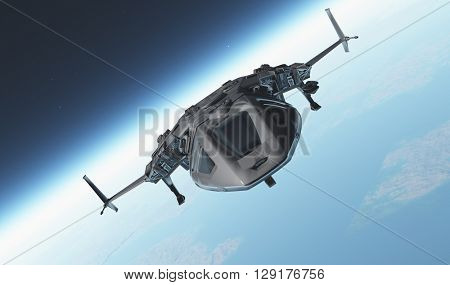 Space transport on a background of the sky  ,3d render