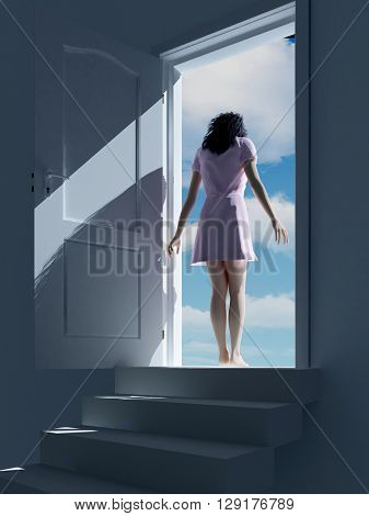 3d illustration of a girl in the doorway.