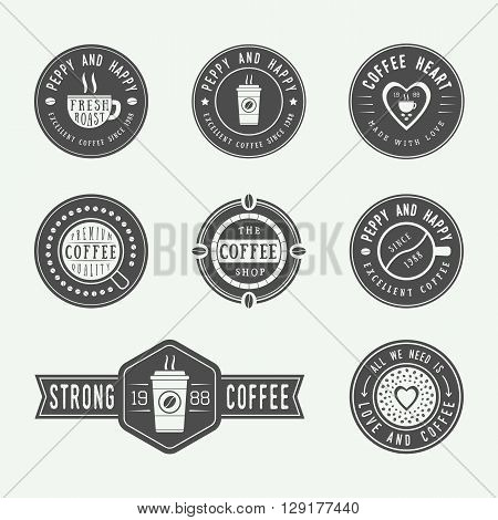 Set of vintage coffee logos labels and emblems. Vector Illustration