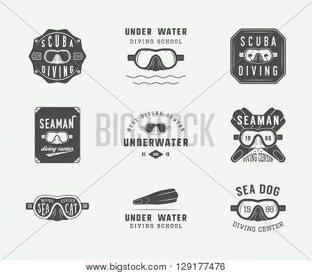 Set of vintage scuba diving logos labels badges and emblems. Vector Illustration
