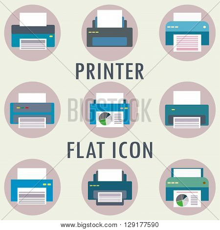 Printer icon or pictogram. Vector flat illusration