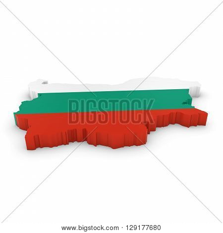 3D Illustration Map Outline Of Bulgaria With The Bulgarian Flag