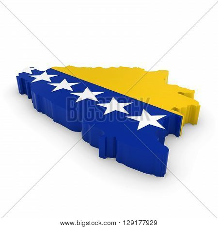 3D Illustration Map Outline Of Bosnia And Herzegovina With The Bosnia And Herzegovinian Flag