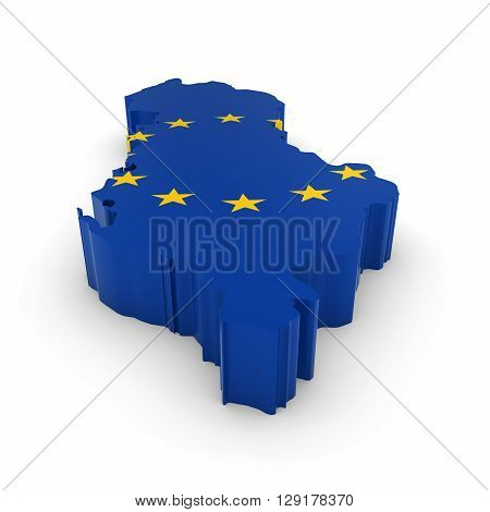 3D Illustration Map Outline Of Albania With The European Union Flag