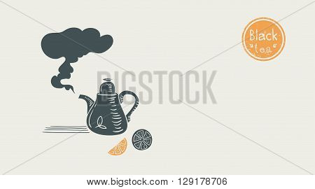 black tea poster. vector illustration with teapot