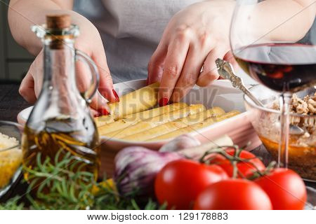 Woman Making Cannelloni