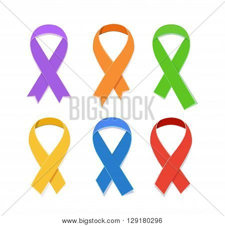 Collection of Awareness colorful vector ribbons, symbol of AIDS candlelight memorial day isolated on white. Concept illustration flat awareness ribbons