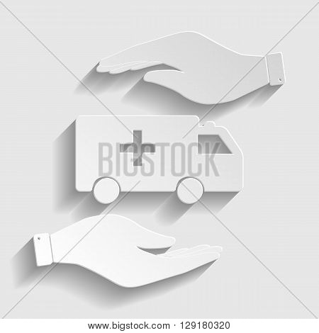 Ambulance sign. Save or protect symbol by hands. Paper style icon with shadow on gray.