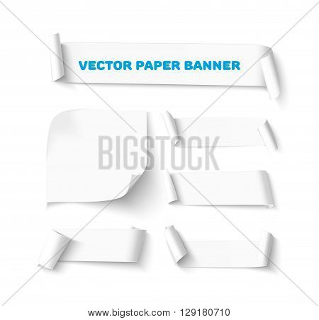 Collection of White blank paper curved horizontal banners with curl corners isolated on white background. Realistic vector paper template with soft shadow. Curved paper sheets