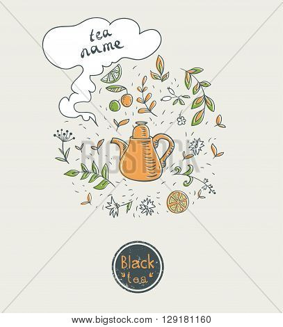 black tea card design. vector illustration with teapot and herbs