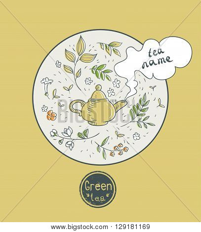 green tea card design. vector illustration with teapot and herbs