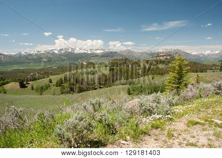 View on Hurricane Mesa Peak, Jim Smith Peak, Squaw Peak from the observation platform of the Beartooth highway, Wyoming, USA