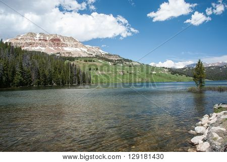 Beautiful Beartooth Butte on the shore of the Beartooth Lake Wyoming USA