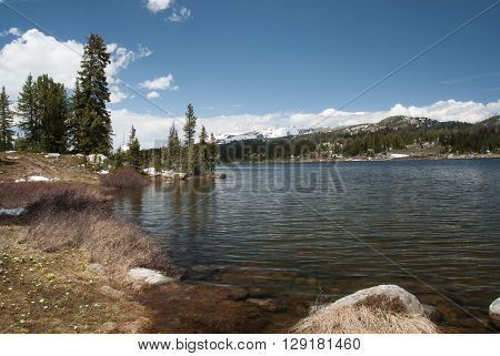 Beautiful mountain Little Bear Lake from the Beartooth highway Wyoming USA