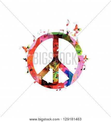 Vector illustration of colorful peace sign with butterflies