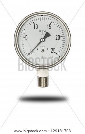 Pressure gauge size 3 inches range 25 bar isolate on white clipping path